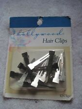 """12 Hollywood Silver Metal Hair Styling Clips Pins Secure Section 1 3/4"""""""