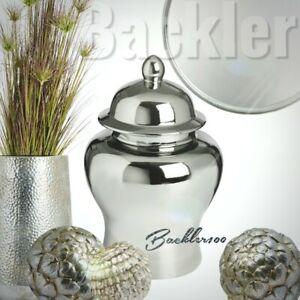 Ceramic aged silver tone GINGER JAR home decor display ornament