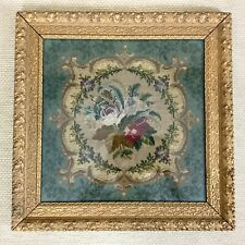More details for antique framed embroidery panel french 19th century needlepoint petit point
