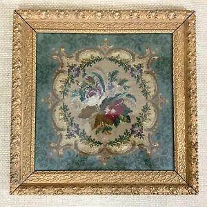 Antico Incorniciato Ricamo Pannello Francese 19th Century Ricamo Piccolo Punto