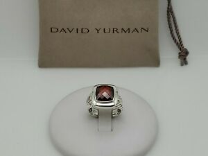 David Yurman Sterling Silver 11mm Albion Ring with Garnet Size 6