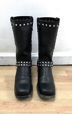 SEXY! BLACK MOTORCYCLE BOOTS w/ chain ornaments (women 9.5)