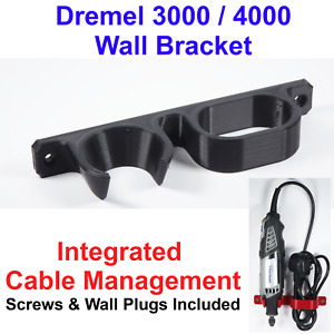 Dremel 3000 / 4000 Wall Mounting Bracket With Integrated Cable Management