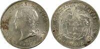 PCGS Colombia Bogota 1881 50 Centavos Silver Coin Nice Lustre AU58