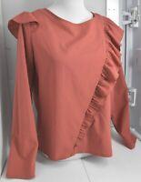 Woman's KENSIE Red Blouse Top Shirt Long Sleeve Size Medium M