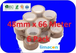 Brown Parcel Tape 48mm x 66M Packing Parcel Packaging Box Sealing – 6 Rolls pack