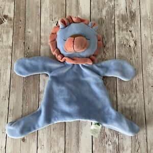 """Green Sprouts Blue & Orange Red Plush Baby Lovey Security Blanket 10"""" Toy Clean"""