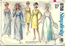Simplicity Sewing Pattern Wedding Dress or Bridesmaid Dress 6759 Size 10 1960's