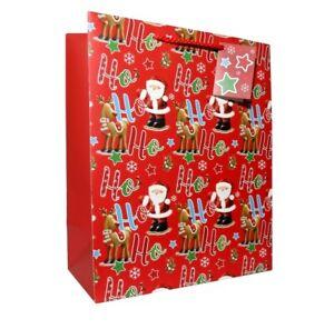 3 Gift Bags Extra Large Portrait HO HO HO SANTA 305 x 379 x 202mm