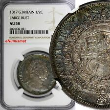 Great Britain George III Silver 1817 1/2 Crown NGC AU58 Large Bust Toned KM# 667