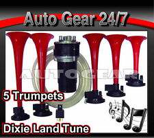5 Trumpet 12v Car Van Boat Dukes of Hazzards Dixie land Musical Air Horn Set BH1