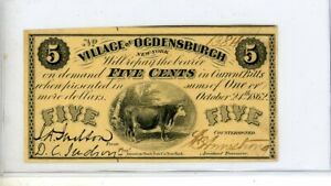 1862 Village OF OGDENSBURG NY Five Cents  NOTE # 1384