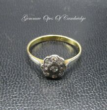 18K Gold 18ct Gold Flowerhead Diamond Ring Size O 2.4g