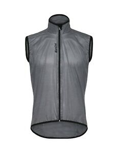 Santini Scudo Mens Packable Cycling Wind Vest in Grey - Made in Italy