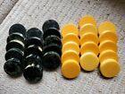Rare Large Tournament Size Black & Yellow Marbled Bakelite Backgammon Pieces