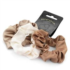 CARD OF 3 BROWN TONAL SATIN LOOK SCRUNCHIE BANDS HAIR ACCESSORIES ACCESSORY NEW.