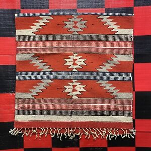 "Vintage Handwoven Zapotec Indian Weaving Rug Mat Wall Hanging Wool 29"" X 58"""