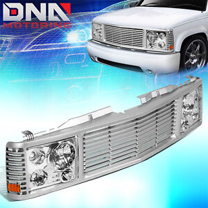 FOR 1988-1999 CHEVY GMC C/K PICKUP TAHOE YUKON BUMPER GRILLE+ HEADLIGHT LAMPS