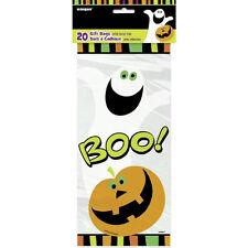 20 X Halloween Transparente Celofán Bolsas de Recuerdos Sorpresa Fiesta Calabaza