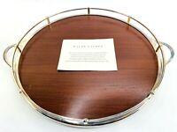 """Ralph Lauren Huxley Round Wooden Tray .925 Silver Plated 14"""" Bar Serving Platter"""