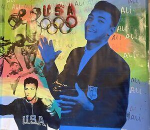 Muhammad Ali AKA Cassius Clay Olympic Steve Kaufman Multi Colored  Dual Signed
