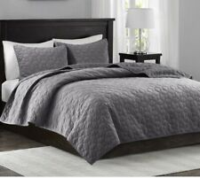 Madison Park HARPER 3pc Set KING Coverlet Quilt Velvet GRAY Grey Shams Mercer