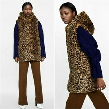 ZARA LEOPARD PRINT SOFT FAUX FUR LONG VEST WITH HOOD SIZE M