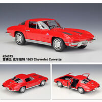 1:24 Scale RED 1963 Chevrolet Corvette Diecast Model Cars Collections By Welly