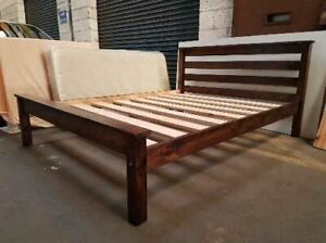 hand made solid pine bed frame with extra strong bed slats