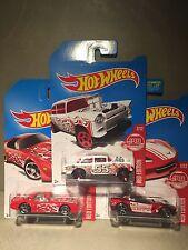 Hot Wheels 2007 Target Red Edition 55 Chevy Gasser, Corvette, Firebird Set Of 3