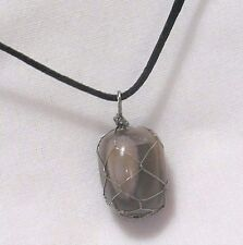 "MOONSTONE GEMSTONE 15 x 19mm WIRE WRAPPED PENDANT 20"" BLACK CORD NECKLACE"