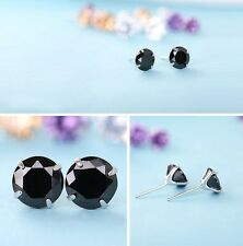 925 Silver 2ct Cubic Zirconia Black Stud Prong Earrings, 6mm Gift Box K36
