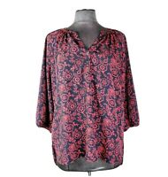 Tommy Hilfiger Womens Red and Dark Blue 3/4 Sleeve Top Peasant Blouse Size L