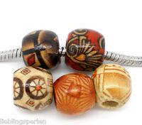 L/P Großverkauf Mix Charm European Holzperlen Tube Muster Perlen Beads 11x12mm