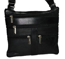 "NEW 1 LADY BLACK CROSS BODY 7""X7"" LEATHER SATCHEL MESSENGER BAG 48"" STRAP"