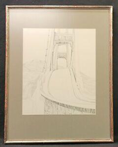 Sam Russo Vintage Signed Original Pencil Drawing Of The Golden Gate Bridge 1963