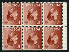 Keviii Sg459bw 1d Booklet Pane of Six (p) wmk inverted U/M