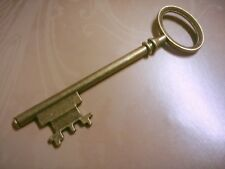 "1 Large Key Pendant Antiqued Bronze Skeleton Key Steampunk 2 Sided 3.14"" 80mm"