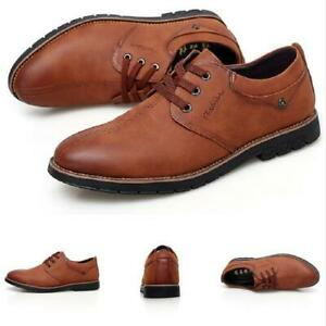 Mens Oxfords Work Lace Up Flats Office Breathable Dress Formal Business Shoes
