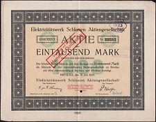 """Aktie über 1000 Mark """"Elektrizitätswerk Schlesien"""" Breslau 1921"""