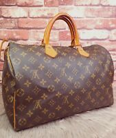 Authentic Louis Vuitton Speedy 35 Monogram Canvas Boston Bag