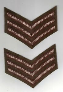 WORLD WAR 2 BRITISH ARMY SERGEANTS CHEVRONS STRIPES REPRODUCTIONS SOLD IN PAIRS