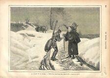 Troubadour La cigale et la Fourmi Tableau Jean-Jehan Georges Vibert GRAVURE 1876