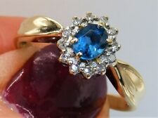 9CT LONDON  BLUE TOPAZ  DIAMOND CLUSTER RING 9 CARAT YELLOW GOLD  KATE STYLE