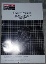 HONDA WX15T water pump owners manual - BRAND NEW!