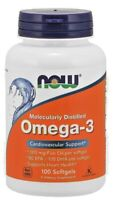 NOW Omega 3 1000mg Fish Oil 100 Softgels  Molecularly Distilled 180 EPA/120 DHA