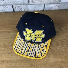 Vintage Michigan Wolverines Hat Snapback Cap Starter NCAA Football Brim Spellout