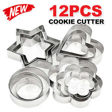 12pcs Heart Flower Star Cookie Biscuit Baking Moulds Stainless Steel Cutters AU