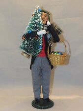 Vtg Byers Choice Carolers 1996 Man With Christmas Tree & Basket Of Ornaments