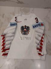 IIHF NIKE AUSTRIA GAME WORN USED WHITE JERSEY #3 SCHNEIDER PHOTO REF.